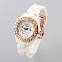 New Fashion Women Rhinestone Watch Rose Gold Case Numbers Quartz Watches Gift Discount Analog White Dial Free Shipping