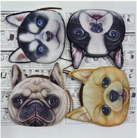 2014 bigger size 24 pcs/lot  4 patten fashion design women &man floral coin purse case key vivid pet dogs wallet Free shipping