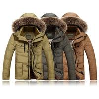 Free Shipping  Men's fur collar down jacket winter hooded white duck down jacket  medium-long fleece coats for men 205
