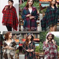 Korean version of the British plaid hooded cloak cape dual large shawl scarf