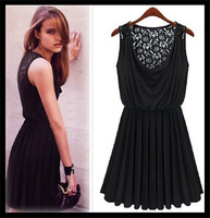 Vestido de festa 2014 Summer New  Casual Dresses Women Sleeveless Sexy Girl Black one-piece Lace Dress Vest Dress Pleated Dress