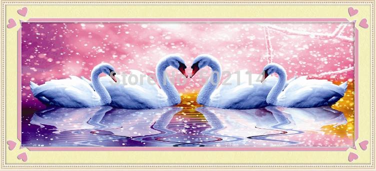 60x30cm swan DIY diamond painting full laid out square diamond drill painting fashion stone cross stitch home decoration(China (Mainland))