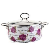 20cm Special Violet Patterns Pot Soup Pot Enamel Nonstick With Transparent Cover