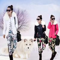 New 2014 Fashion Two-Piece Suit Women Eiderdown Cotton Warm Fur Collar Jacket Cotton Trousers Women Winter Jackets Women Pants