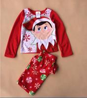 for 2-10T  Free shipping children kids boy girl Christmas  Fleece winter long sleeves pajamas pyjamas sleepwear
