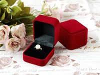 Free Shipping Wholesale 10Pcs/Lot Grand Flocking Fabric Jewelry Package Box for Earrings & Rings Red