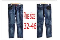 2014 New Autumn winter fat women straight jeans Plus size 32-46 cotton denim pants flower long trousers free shipping!