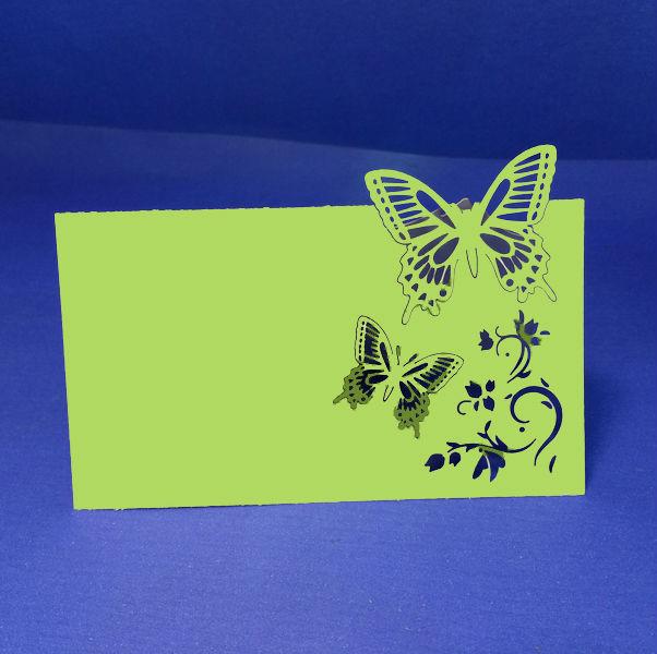 10X pierce Laser Cut Paper Crafts borboleta elegante do casamento verde detalhes no cartão do convite grátis frete(China (Mainland))