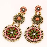 Vintage Gold Plated Hollow  Metal Beads Rhinestones Flower Wedding Dangle Earrings Turkey Boho Jewelry Wholesale 2014 PD21
