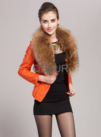 Autumn Lady Sheepskin Leather Jacket Coat with Raccoon Fur Collar Winter Women Fur Short Outerwear Coat Down Garment QD80101