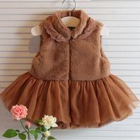 2014 Winter new Korean Girls Zhongshan University Tong thicker fur vest dress lace skirt princess dress vest