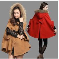 2014 autumn and winter women wool coat fur collar hooded cloak woolen overcoat