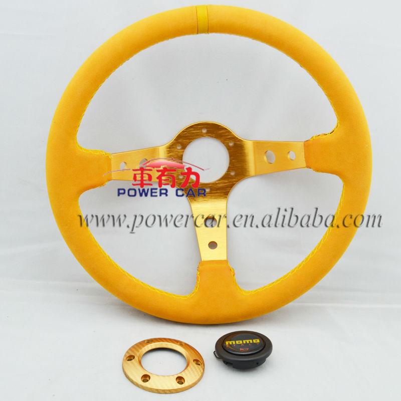 Yellow Suede Leather 350mm Deep Dish MOMO Steering Wheel(China (Mainland))
