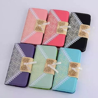 2014 Colorful New Design Nylon Lace Wallet Stand PU Leather Case for iPhone6 4.7inch with Card Slot