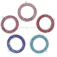 New 100 pcs/lot Colorful Double Circle Rhinestone Cabochon Base Setting Round 37x41mm(Inner size25mm) Charm Pendant Wholesale