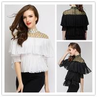 2014 new runway fashion sweet OL ladies embroidery gauze patchwork half sleeve pleated chiffon blouse shirt S,M,L