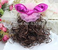 Free ShippingThe new three-dimensional rabbit ears Korean big wig hairpin shiny tuba fashion cute lovely