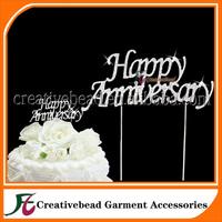 Happy Anniversary Rhinestone Cake Topper for Wedding Party, New Style Wedding Diamante Cake Topper for Wedding Cake, Cake Picks