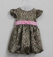 free shipping 2014 Summer children fashion dress girls pink Belt fly sleeve leopard dress baby girls kids children's clothing