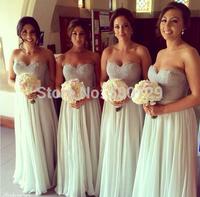 Hot Sale Elegant A-Line Chiffon Applique Wedding Party Dress Sweetheart Formal Long Bridesmaid Dresses 2015