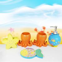 5pcs Creative Cute Cartoon Starfish Ocean Bathroom Accessory Set for Kids Gifts Free shipping