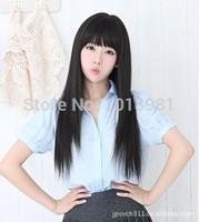 Wig long fluffy long straight hair qi girls bangs repair elegant black light dark brown wigs free shipping
