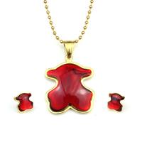 Luxury tou bear jewelry set women bijoux gold plated stainless steel necklace earrings