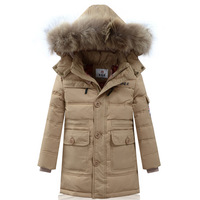 HOT! 2014 Winter Luxury Large Fur Collar Children Baby Boys Kids Long Design Thick Warm Hooded Down Jacket Parkas Coat Outerwear
