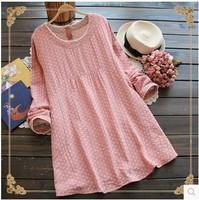 free shipping ! girl's dot casual lace dress ladies' fall cotton linen clothing female loose three quarter sleeve mini dress