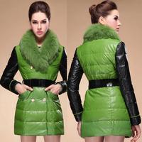 winter jacket women brand Ms long section Fox fur collar Slim Down pu material M L XL XXL 3XL / 715