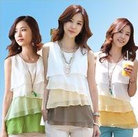 2014 Summer New Fashion Women Chiffon top Sleeveless female blouses and shirts Ladies tops 3 color shade S-XXL blusa com renda