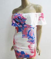 Free shipping European style ladies fashion floral print women's sexy off shoulder slash neck dress