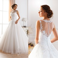 Custom Made Vestidos De Novia A-line Illusion Neckline Sexy Backless Lace Wedding Dresses 2015 Bridal Gown Vestido De Casamento