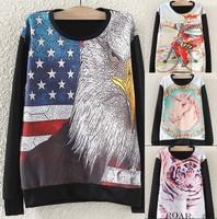 HOT 3D single Pint Unicorn sweatshirts Animal horse/tiger/Eagles/king/medusa print hoodies long sleeve women tops shirt new 2014