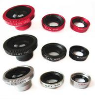3 in 1 Wide Lens + Macro Lens + 180 Fish Eye Lens For iPhone 4 4s 5 5s 5c, for all mobile phones Digital Camera
