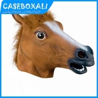 Hot Selling Creepy Horse Mask Head Pantomime Fancy Dress Party Cosplay Halloween Costume Theater Prop Novelty Vinyl Horse Mask