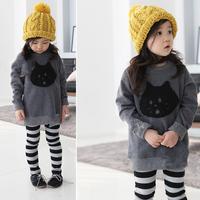 Kid Baby Cartoon Cathead Print Crewneck Long Sleeve Pullover Sweatershirt