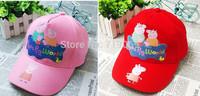 6pcs/lot  Wholesale Kids New Summer Girls Boys Hats peppa pig George Pig  Hats Baseball Caps  Children Hat Baseball Caps