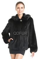 Fashion Women's Genuine Natural Mink Fur Coat Jacket Hooded Female Fur Outerwear 2014 Winter Garment QD70780