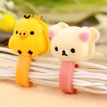Electronic 2014 New 6pcs Cartoon Animals Hello Kitty Smart Wire Cord Cable Drop Clips Ties Organizer Line Fixer Holder Sale R16