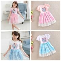 2014 Princess Dresses baby & kids summer Girl pink/blue Dress Children girls' Clothing Short sleeve Elsa Frozen Dress For Girl