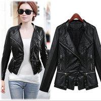 PU Leather Jacket Women Cothing New 2014 Women Coat High Quality Leather Jacket Fashion Autumn Winter Leather Coat Plus size XL