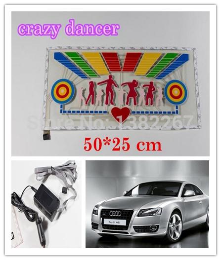 New Arrival 50*25 crazy dancer Car Music Rhythm Lamp Music Activated Equalizer auto EL Sheet car led Sticker(China (Mainland))