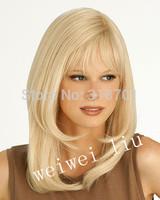 Latest Elegant Light Blonde Medium Straight Synthetic Wig Free shipping