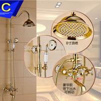 "High-end Rainfall Shower Bath Mixer Faucet Set Gold-plating 8"" Rainfall Bathroom Complete Shower Set Faucet Taps"