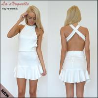 European Style Sleeveless White Pleated Dress Bandage Bodycon Vestido Autumn Sleeveless Dress Vestido Estampado Party Dresses