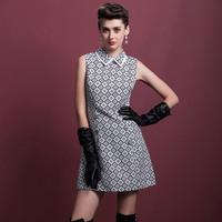 Factory direct sales fall 2014 women's New Retro diamond lattice printing Lapel sleeveless vest dress