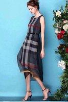 Free Shipping Women Dress Plaid Elegant Checked Cotton Long Sleeve Shirt
