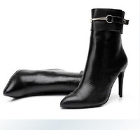 New Winter Genuine Leather High-heeled Boots For Women Black Pointed Toe High-heeled Ankle Boots Fashion BRAND Boots 10CM