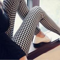 High quality sexy elastic silm women legging Classic white& black trousers Black and white grid stripe lady leggings